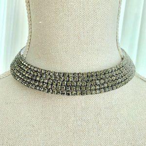 Dark Smoky Gray Collar Necklace Original Gift Bag